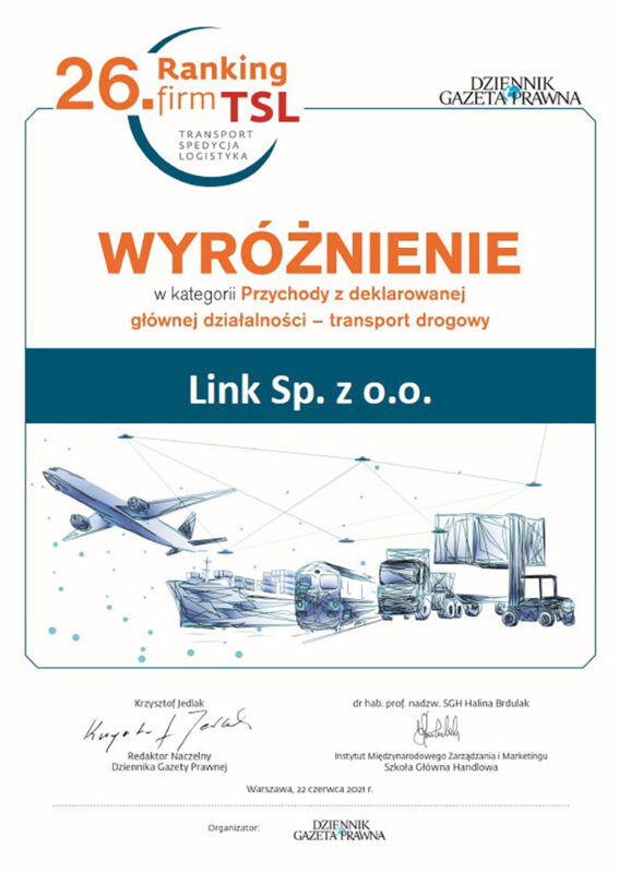 DISTINCTION FOR LINK IN THE TRANSPORT, FORWARDING & LOGISTICS COMPANIES RANKING