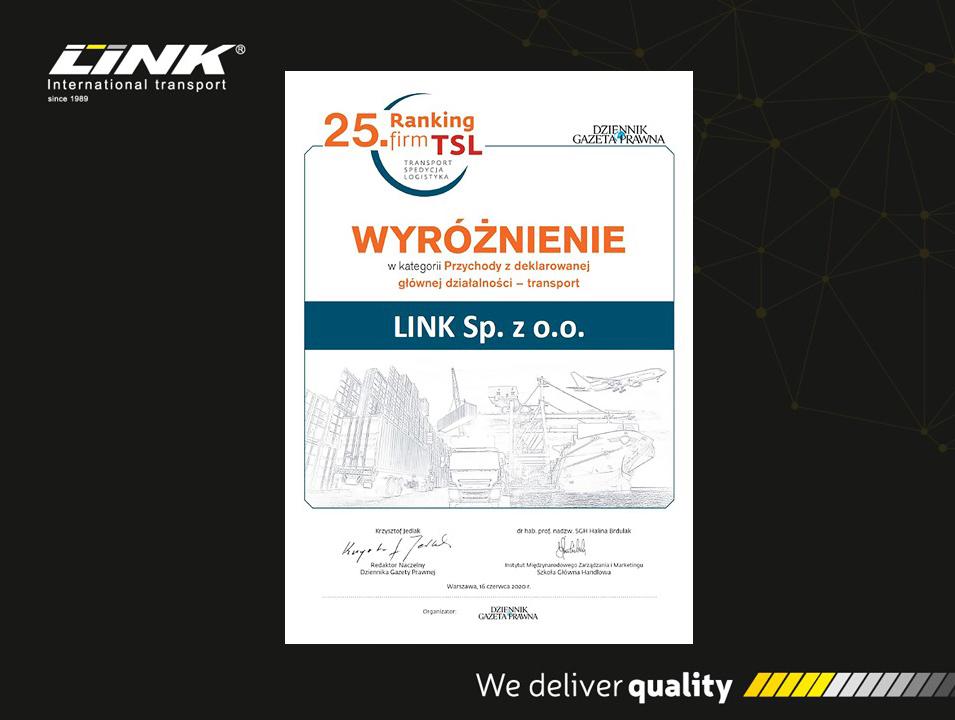 LINK wśród laureatów 25 Rankingu TSL!